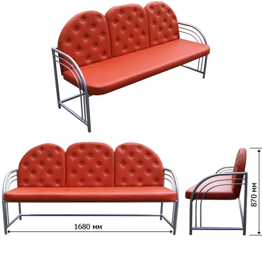 Трехместный металлический диван ДМ-3